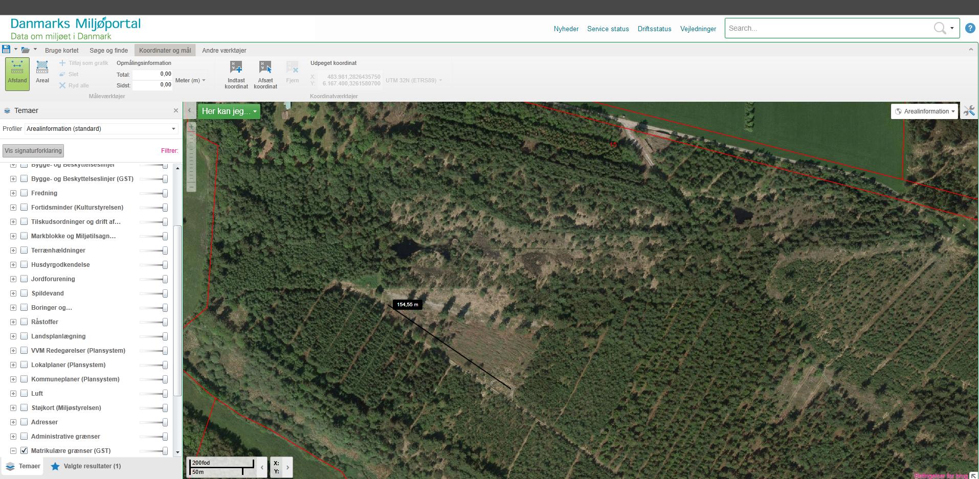 Billede 3, arealinfo afstandsmåler